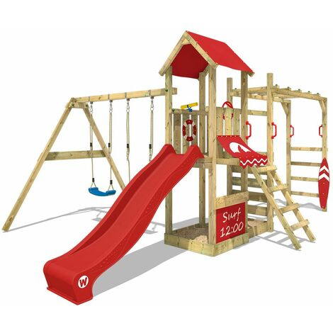 WICKEY Wooden climbing frame Smart Dock with swing set and red slide, Garden playhouse with sandpit, climbing wall & play-accessories