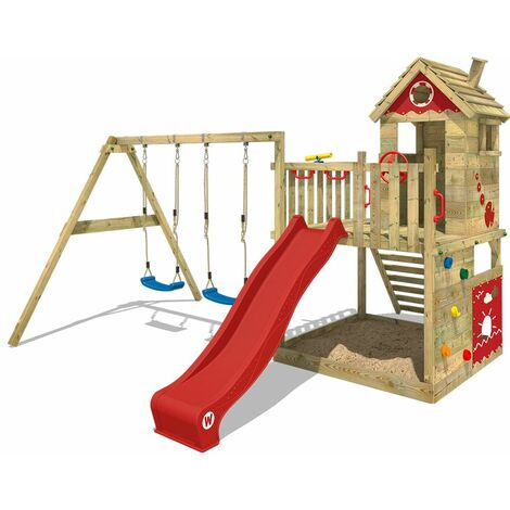WICKEY Wooden climbing frame Smart Lodge 120 with swing set and red slide, Playhouse on stilts for kids with sandpit, climbing ladder & play-accessories
