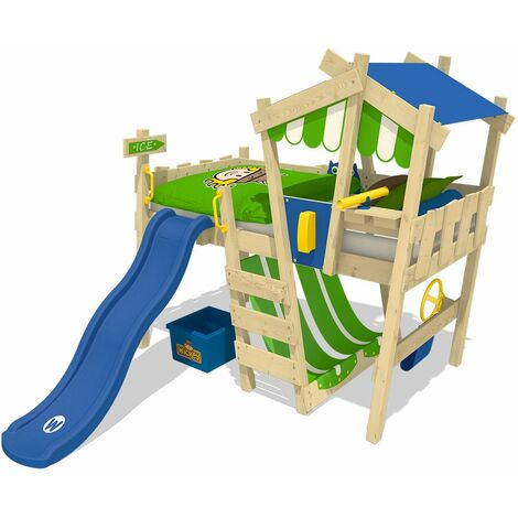 WICKEY Kid´s bed, loft bed Crazy Hutty with blue slide single bed 90 x 200 cm, children´s bed