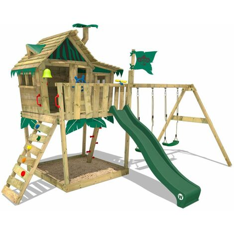 WICKEY Wooden climbing frame Smart Monkey with swing set and green slide, Playhouse on stilts for kids with sandpit, climbing ladder & play-accessories