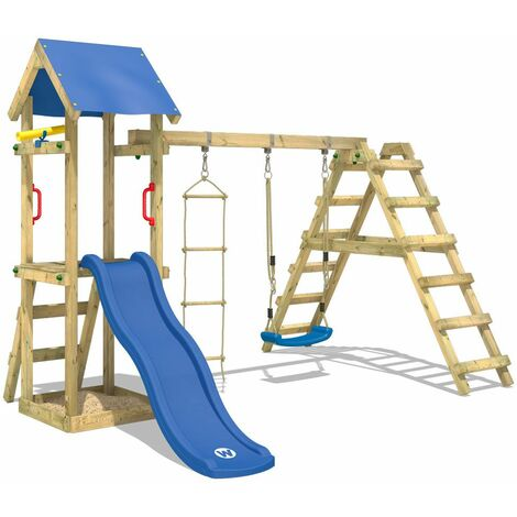 WICKEY Wooden climbing frame TinyLoft with swing set and blue slide, Garden playhouse with sandpit, climbing wall & play-accessories