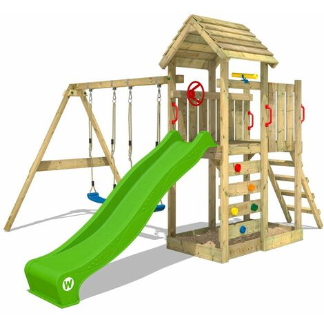 WICKEY Climbing frame MultiFlyer wooden roof with swing set andapple green slide, Garden playhouse with sandpit, climbing ladder & play-accessories