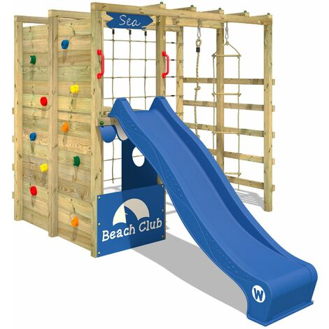 WICKEY Wooden climbing frame Smart Allstar with blue slide, Garden playhouse with climbing wall & play-accessories
