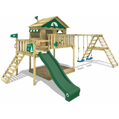 WICKEY Wooden climbing frame Smart Ocean with swing set and green slide, Playhouse on stilts for kids with sandpit, climbing ladder & play-accessories