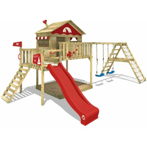 WICKEY Wooden climbing frame Smart Ocean with swing set and red slide, Playhouse on stilts for kids with sandpit, climbing ladder & play-accessories