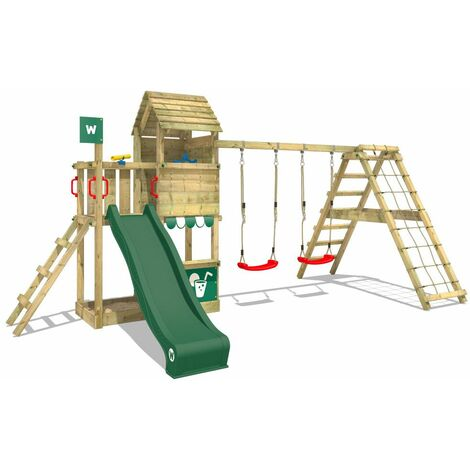 WICKEY Wooden climbing frame Smart Port with swing set and green slide, Garden playhouse with sandpit, climbing wall & play-accessories