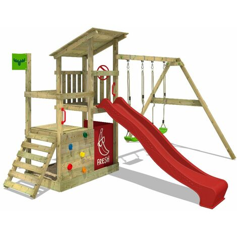 FATMOOSE Wooden climbing frame FruityForest with swing set and red slide, Garden playhouse with sandpit, climbing ladder & play-accessories