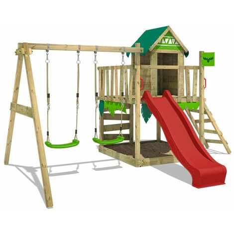 FATMOOSE Wooden climbing frame JazzyJungle with swing set and red slide, Playhouse on stilts for kids with sandpit, climbing ladder & play-accessories