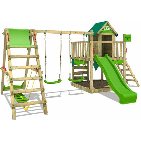 FATMOOSE Wooden climbing frame JazzyJungle with swing set SurfSwing and apple green slide, Playhouse on stilts for kids with sandpit, climbing ladder & play-accessories