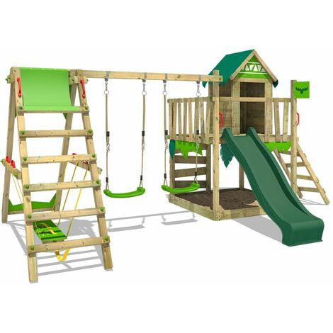 FATMOOSE Wooden climbing frame JazzyJungle with swing set SurfSwing and green slide, Playhouse on stilts for kids with sandpit, climbing ladder & play-accessories
