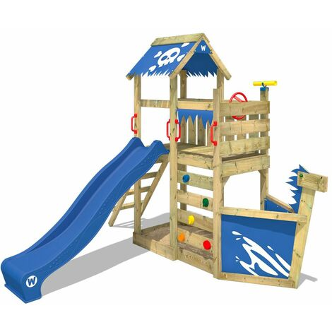 WICKEY Wooden climbing frame SpookyFlyer with blue slide, Playhouse on stilts for kids with sandpit, climbing ladder & play-accessories