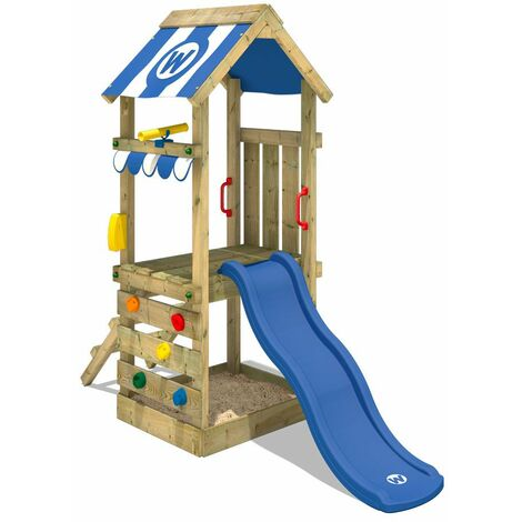 WICKEY Wooden climbing frame FunkyFlyer with blue slide, Garden playhouse with sandpit, climbing ladder & play-accessories