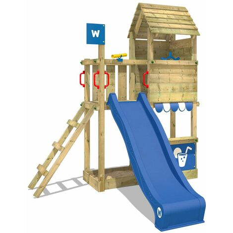 WICKEY Wooden climbing frame Smart Sparrow with blue slide, Garden playhouse with sandpit, climbing ladder & play-accessories