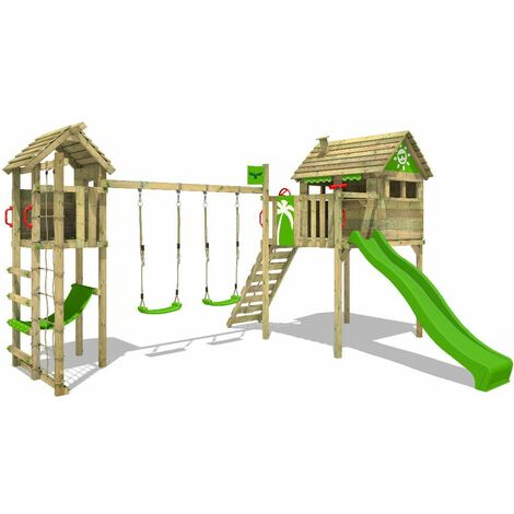 FATMOOSE Wooden climbing frame FunFactory with swing set TowerSwing and apple green slide, Playhouse on stilts for kids with climbing ladder & play-accessories