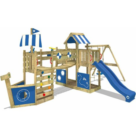WICKEY Wooden climbing frame ArcticFlyer with swing set and blue slide, Playhouse on stilts for kids with sandpit, climbing ladder & play-accessories