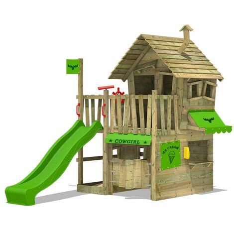FATMOOSE Wooden climbing frame CountryCow with apple green slide, Playhouse on stilts for kids with sandpit, climbing ladder & play-accessories