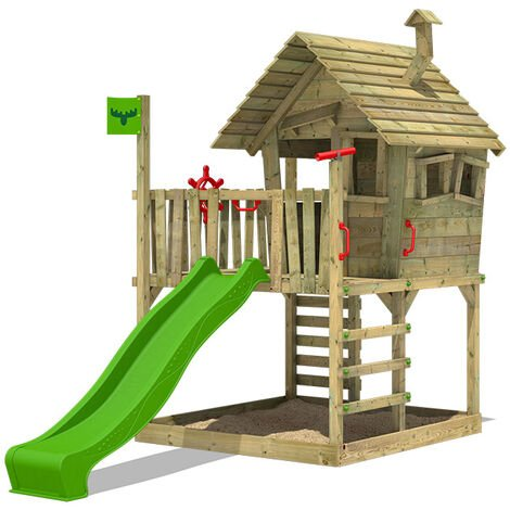 FATMOOSE Wooden climbing frame WackyWorld with apple green slide, Playhouse on stilts for kids with sandpit, climbing ladder & play-accessories