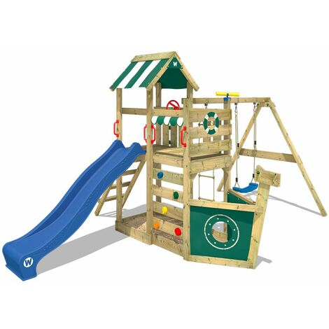 WICKEY Wooden climbing frame SeaFlyer with swing set and blue slide, Playhouse on stilts for kids with sandpit, climbing ladder & play-accessories