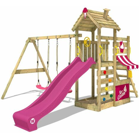WICKEY Wooden climbing frame CherryFlyer with swing set and purple slide, Garden playhouse with sandpit, climbing ladder & play-accessories