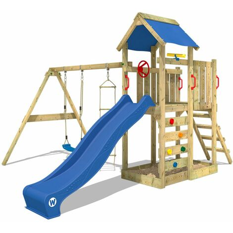 WICKEY Wooden climbing frame MultiFlyer with swing set and blue slide, Garden playhouse with sandpit, climbing ladder & play-accessories