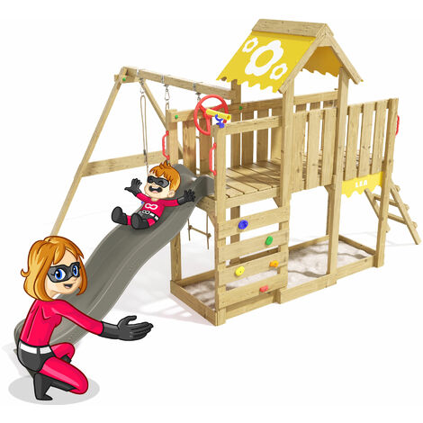 Climbing Frame Playful Heroows Swing Set with Climbing Ladder and Climbing Wall, Swing & Anthracite Slide