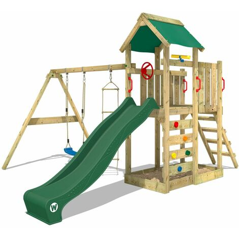 WICKEY Wooden climbing frame MultiFlyer with swing set and green slide, Garden playhouse with sandpit, climbing ladder & play-accessories