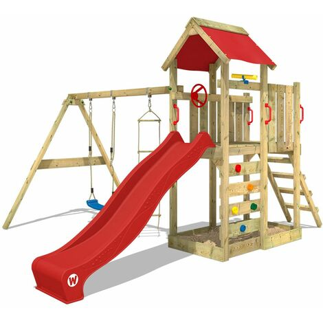 WICKEY Wooden climbing frame MultiFlyer with swing set and red slide, Garden playhouse with sandpit, climbing ladder & play-accessories