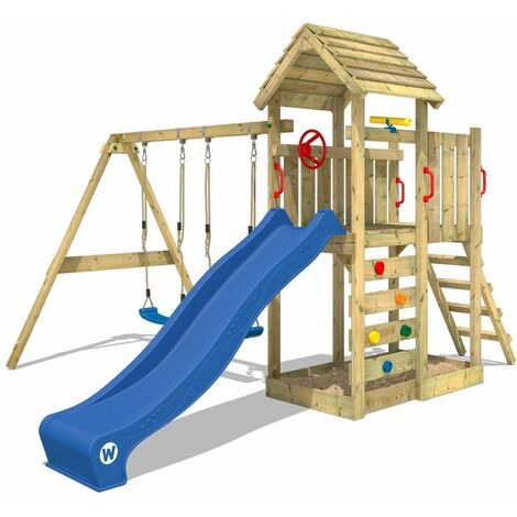WICKEY Climbing frame MultiFlyer wooden roof with swing set and blue slide, Garden playhouse with sandpit, climbing ladder & play-accessories