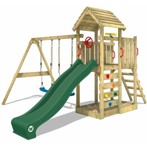 WICKEY Climbing frame MultiFlyer wooden roof with swing set and green slide, Garden playhouse with sandpit, climbing ladder & play-accessories