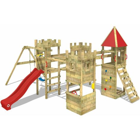 WICKEY Wooden climbing frame Smart Excalibur with swing set and red slide, Knight's playcastle with sandpit, climbing ladder & play-accessories