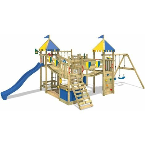 WICKEY Wooden climbing frame Smart King with swing set and blue slide, Knight's playcastle with sandpit, climbing ladder & play-accessories
