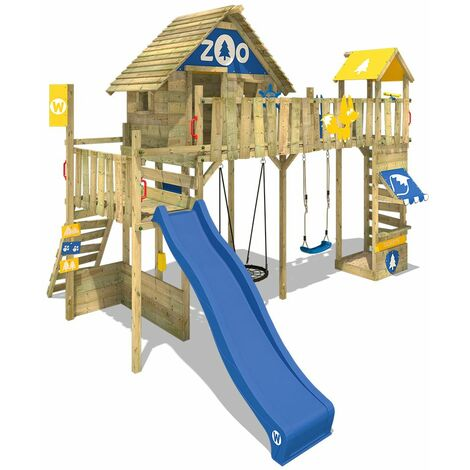 WICKEY Wooden climbing frame Smart Ranger with swing set and blue slide, Playhouse on stilts for kids with sandpit, climbing ladder & play-accessories