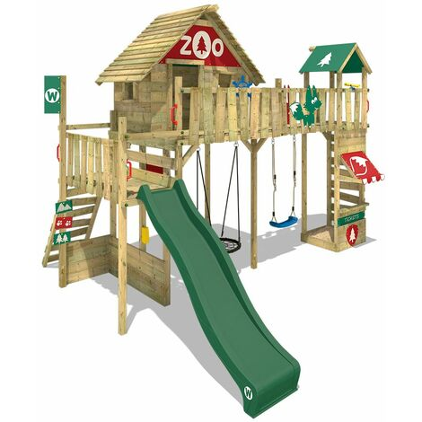 WICKEY Wooden climbing frame Smart Ranger with swing set and green slide, Playhouse on stilts for kids with sandpit, climbing ladder & play-accessories