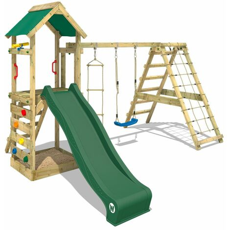WICKEY Wooden climbing frame StarFlyer with swing set and green slide, Garden playhouse with sandpit, climbing ladder & play-accessories