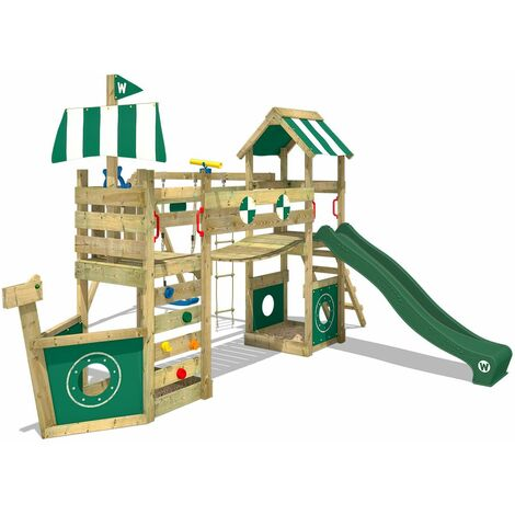 WICKEY Wooden climbing frame StormFlyer with swing set and green slide, Playhouse on stilts for kids with sandpit, climbing ladder & play-accessories