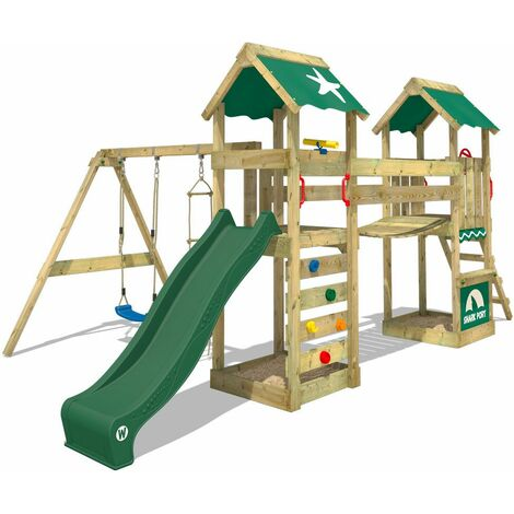 WICKEY Wooden climbing frame SunFlyer with swing set and green slide, Garden playhouse with sandpit, climbing ladder & play-accessories