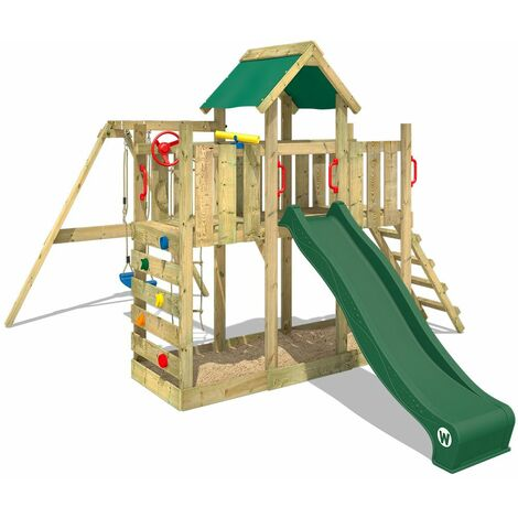 WICKEY Wooden climbing frame TwinFlyer with swing set and green slide, Garden playhouse with sandpit, climbing ladder & play-accessories