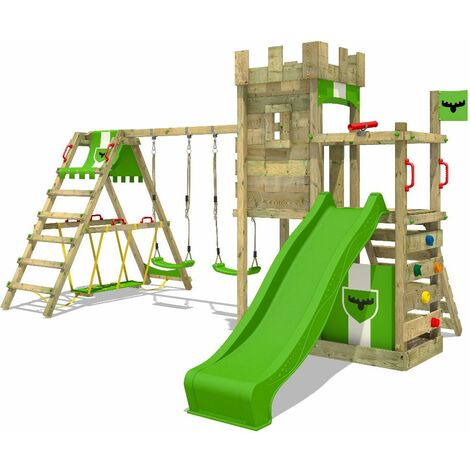 FATMOOSE Wooden climbing frame BoldBaron with swing set SurfSwing and apple green slide, Knight's playhouse with sandpit, climbing ladder & play-accessories