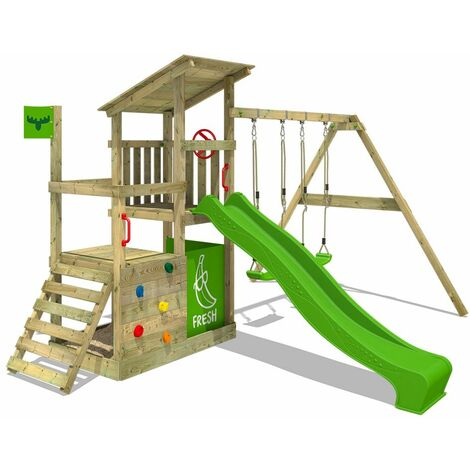 FATMOOSE Wooden climbing frame FruityForest with swing set and apple green slide, Garden playhouse with sandpit, climbing ladder & play-accessories