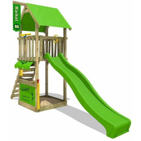 FATMOOSE Wooden climbing frame MagicMarket with apple green slide, Garden playhouse with sandpit, climbing ladder & play-accessories