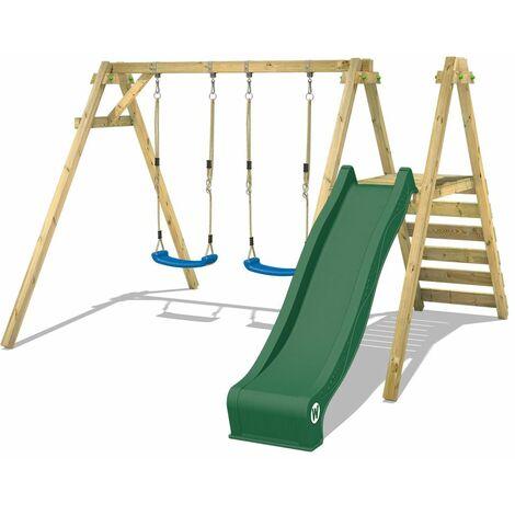 WICKEY Wooden swing set Smart Dash with green slide Children's swing