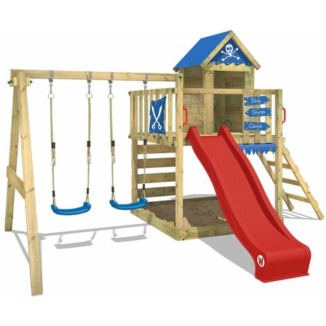 WICKEY Wooden climbing frame Smart Cave with swing set and red slide, Playhouse on stilts for kids with sandpit, climbing ladder & play-accessories