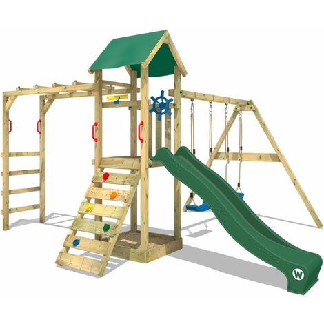 WICKEY Wooden climbing frame Smart Bridge with swing set and green slide, Garden playhouse with sandpit, climbing ladder & play-accessories