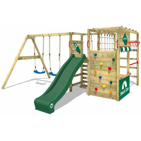 WICKEY Wooden climbing frame Smart Zone with swing set and green slide, Garden playhouse with climbing wall & play-accessories
