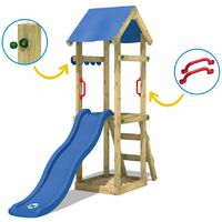 WICKEY Wooden climbing frame TinySpot green with swing set, Garden playhouse with sandpit, climbing ladder & play-accessories