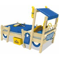 WICKEY Kid´s bed, single bed Crazy Sparky Pro - blue canvas cover children´s bed 90 x 200 cm