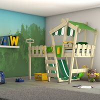 WICKEY Kid´s bed, loft bed Crazy Hutty apple green/blue canvas cover single bed 90 x 200 cm, children´s bed