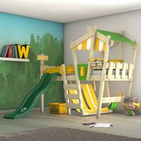 WICKEY Kid´s bed, loft bed Crazy Hutty with green slide single bed 90 x 200 cm, children´s bed