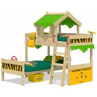 WICKEY Kid´s bed, bunk bed Crazy Jungle - apple green/yellow canvas cover loft bed 90 x 200 cm
