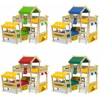WICKEY Kid´s bed, bunk bed Crazy Trunky - blue/yellow canvas cover loft bed 90 x 200 cm